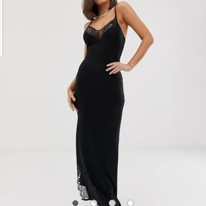 NWT CLUB L black lace maxi US 2 xs slit ASOS